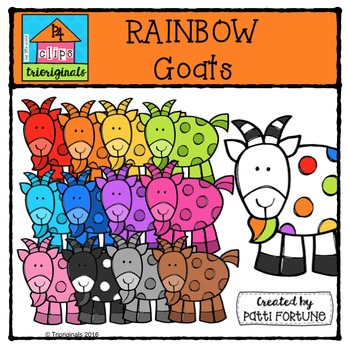 RAINBOW Dots Goats {P4 Clips Trioriginals Digital Clip Art}