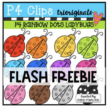 RAINBOW Dots Ladybugs {P4 Clips Trioriginals Digital Clip Art}