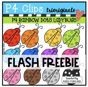 RAINBOW Dots Ladybugs {P4 Clips Trioriginals Digital Clip Art}