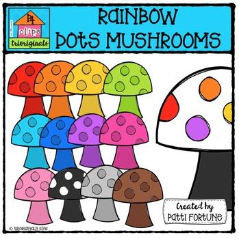 RAINBOW Dots Mushrooms {P4 Clips Trioriginals Digital Clip Art}
