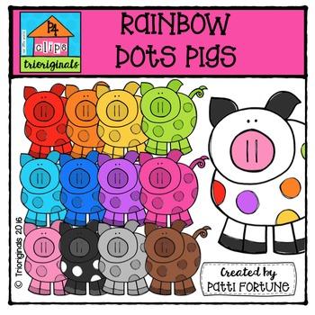 RAINBOW Dots Pigs {P4 Clips Trioriginals Digital Clip Art}