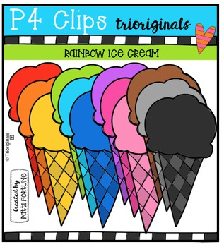 RAINBOW Ice cream {P4 Clips Trioriginals Digital Clip Art}
