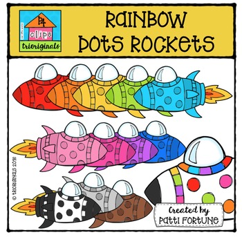 RAINBOW Dots Rockets {P4 Clips Trioriginals Digital Clip Art}