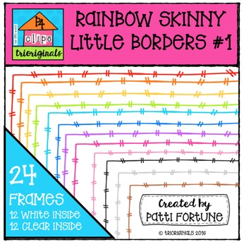 RAINBOW Skinny Little Borders {P4 Clips Trioriginals Digital Clip Art}