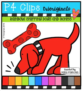 RAINBOW Sniffing Dogs and Bones {P4 Clips Trioriginals}