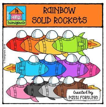RAINBOW Solid Rockets {P4 Clips Trioriginals Digital Clip Art}