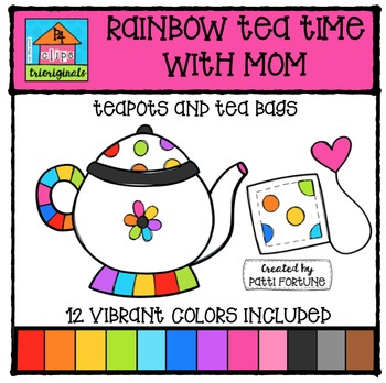 RAINBOW Tea Pots for Mom {P4 Clips Triorignals Digital Clipart}
