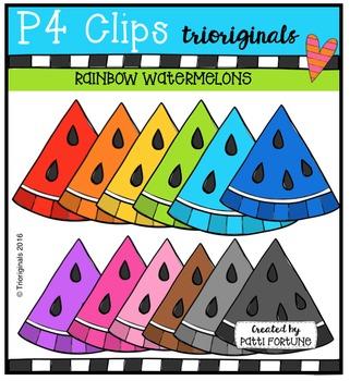 RAINBOW Watermelons {P4 Clips Trioriginals Digital Clip Art}