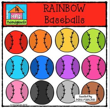 RAINBOW baseballs {P4 Clips Trioriginals Digital Clip Art}