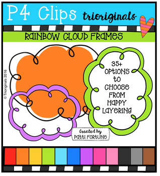 Rainbow Cloud Frames  {P4 Clips Trioriginals Digital Clip Art}