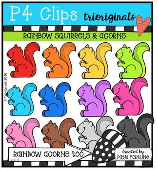 Rainbow Squirrels & Acorns  {P4 Clips Trioriginals Digital