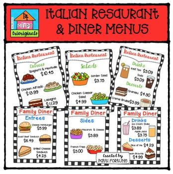 Restaurant & Diner Menus {P4 Clips Trioriginals Digital Clip Art}