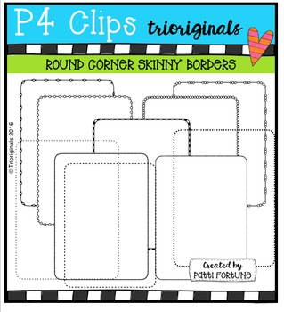 Round Corner Skinny Borders {P4 Clips Trioriginals Digital Clip Art}