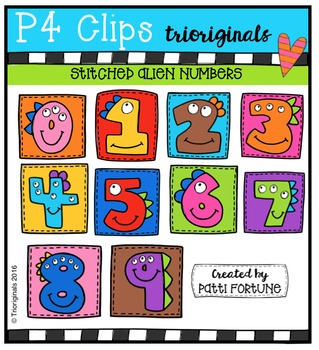 Stitched Alien Numbers JSS  {P4 Clips Trioriginals Digital Clip Art}