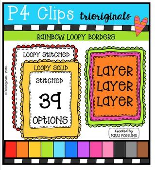 Stitched Loopy Borders  {P4 Clips Trioriginals Digital Clip Art}