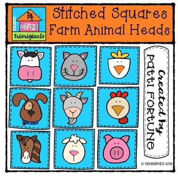 Stitched Square Farm Animal Heads {P4 Clips Trioriginals Clip Art}