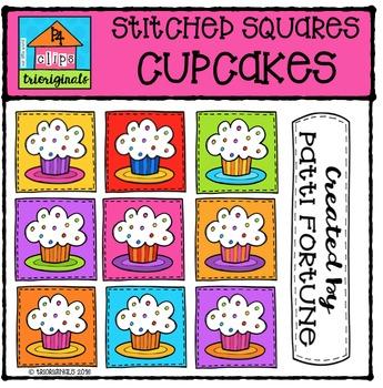 Stitched Squares Cupcakes {P4 Clips Trioriginals Digital Clip Art}