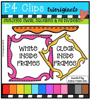 (50% 0FF) Stitched Swirl Squares and Dividers  {P4 Clips T