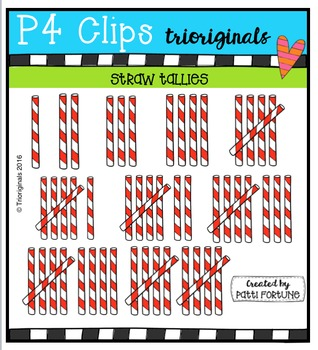 Striped Straw Tallies {P4 Clips Trioriginals Digital Clip Art}