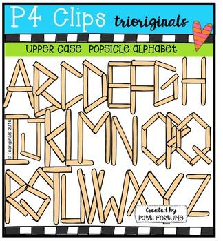 Upper Case Popsicle Stick Alphabet  {P4 Clips Trioriginals}