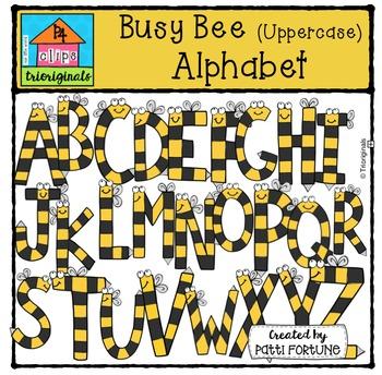 Uppercase Bee Letters {P4 Clips Trioriginals Digital Clip Art}