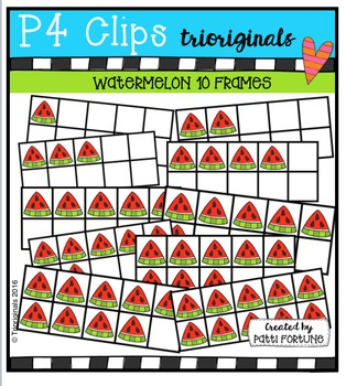 Watermelon Ten Frames {P4 Clips Trioriginals Digital Clip Art}