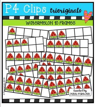 Watermelon Ten Frames {P4 Clips Trioriginals Digital Clip Art}