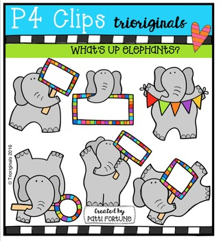 What's Up Elephants  {P4 Clips Trioriginals Digital Clip Art}