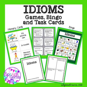 Idioms Unit:  Memory cards, Quiz Game, Bingo, and Task Cards
