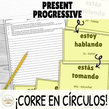Present Progressive ¡Corre en Círculos! Activity