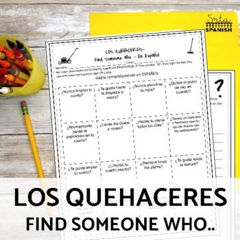 Los Quehaceres Chores Speaking Activity