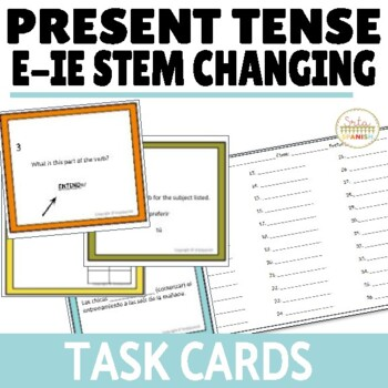 Present Tense Task Cards E-IE Stem Changing Verbs