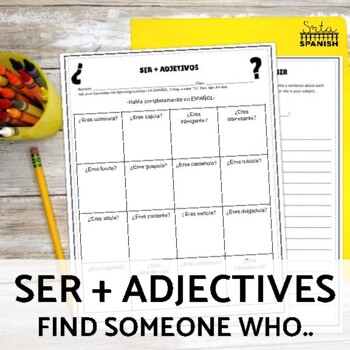 Ser and Adjectives Speaking Activity