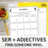 Ser and Adjectives Find Someone Who Speaking Activity