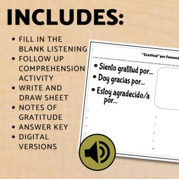 """Spanish Thanksgiving Listening Activity """"Gratitud"""" Cloze Sheet"""