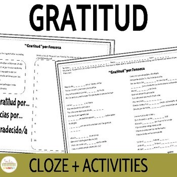 """Gratitud"" Cloze activity"