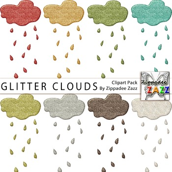 Glitter Clouds Clipart - April Showers/Rainy Day/Glitter