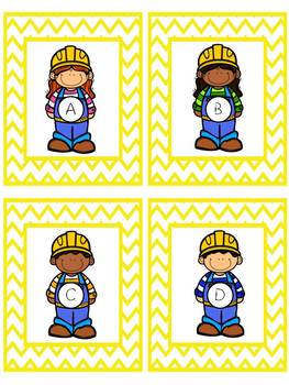 Construction Capital and Lower Case Alphabet Card Activity