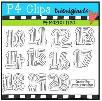 10-20 Number Mazes (P4 Clips Trioriginals Clip Art)