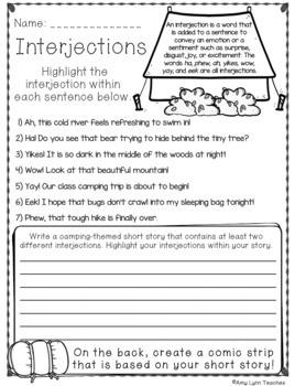 100 Fifth Grade Camping Theme No Prep Language, Reading, Writing, & Math Work