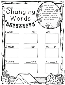 100 First Grade Camping Theme No Prep Language, Reading, Writing, & Math Work