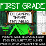 100 First Grade Camping Themed Distance Learning Printables