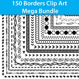 150 Page Borders and Frames Clipart Bundle