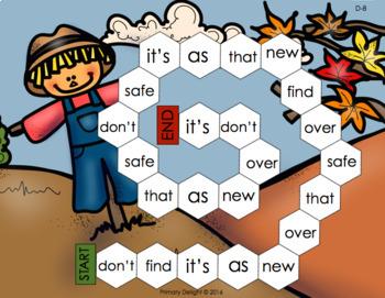 Sight Word Path Games - Kindergarten - Fall (Autumn) BUNDLE