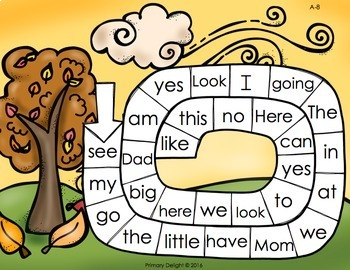 Sight Word Path Games for Kindergarten - Fall (Autumn) - Level A