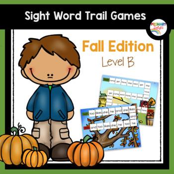 Sight Word Path Games for Kindergarten - Fall (Autumn) - Level B