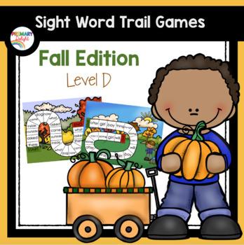 Sight Word Path Games for Kindergarten - Fall (Autumn) - Level D