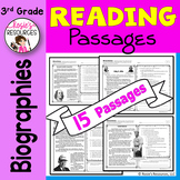 Reading Comprehension Passages and Questions - 3rd Grade Biographies