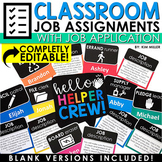 EDITABLE Classroom Jobs For Student Helpers | Job Chart