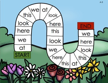Sight Word Path Games for Kindergarten - Spring  (Level A)